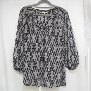 "Joie S Ikat Silk Popover Shirt Tunic Fall 40"" Bust"